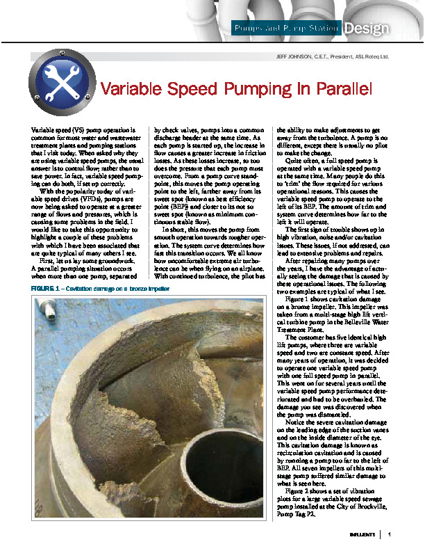 Variable Speed Pumping in Parallel